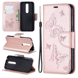 Imprint Butterfly Leather Wallet Case for Nokia 4.2 - Rose Gold