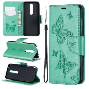 Imprint Butterfly Leather Wallet Case for Nokia 4.2 - Green