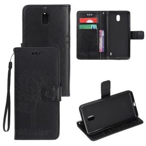 Imprint Tree Owl Leather Wallet Stand Case for Nokia 1 Plus - Black