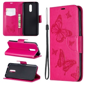 Imprint Butterfly Leather Wallet Casing for Nokia 3.2 - Rose