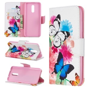 Pattern Printing Leather Wallet Phone Case for Nokia 3.2 - Vivid Butterflies