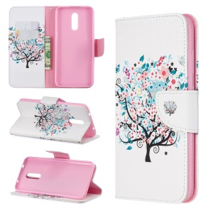 Pattern Printing Leather Wallet Phone Case for Nokia 3.2 - Flowered Tree