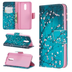 Pattern Printing Leather Wallet Phone Case for Nokia 3.2 - Tree with Flowers