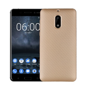 Carbon Fiber Soft TPU Protection Cover Case for Nokia 6 - Gold