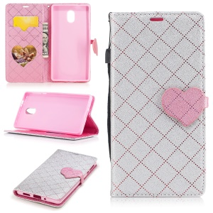 Love Heart Contrasting Color Leather Wallet Mobile Shell With Stand for Nokia 3 - Silver