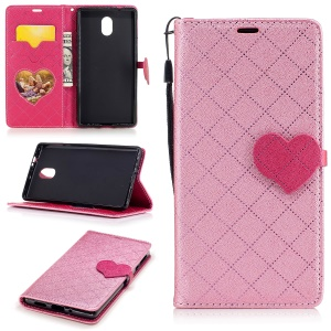 Love Heart Contrasting Color Leather Wallet Mobile Phone Casing With Stand for Nokia 3 - Pink