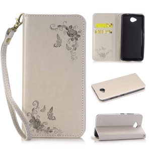 For Microsoft Lumia 650 / Dual SIM Imprint Butterfly Flower Leather Flip Stand Cover with Lanyard - Grey