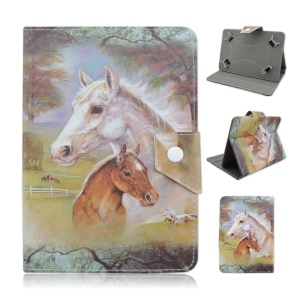 Universal Stand Leather Case for Samsung Galaxy Tab 3 7.0 / Amazon Kindle Fire Etc - Horse Painting