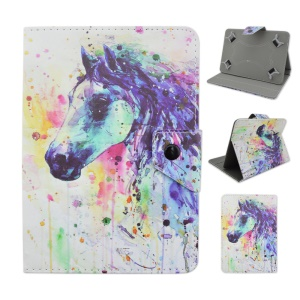 Universal PU Leather Case for Samsung Galaxy Tab 3 7.0 / Amazon Kindle Fire Etc - Horse Watercolor Painting