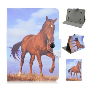 Universal Leather Flip Cover for Samsung Galaxy Tab 3 7.0 / Amazon Kindle Fire Etc - Horse