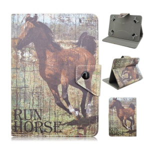 Universal Leather Case Cover for Samsung Galaxy Tab 3 7.0 / Amazon Kindle Fire Etc - Run Horse
