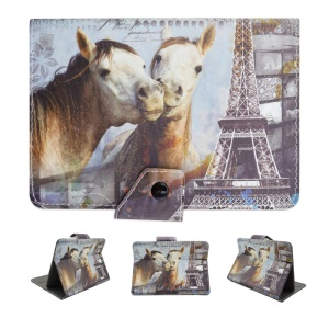Universal Leather Tablet Case for Samsung Galaxy Tab 3 7.0 / Amazon Kindle Fire Etc - Eiffel Tower and Horses