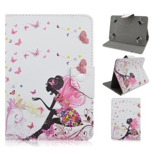 Universal Flip Stand Leather Case for Samsung Galaxy Tab 3 7.0 / Amazon Kindle Fire, Size: 195x125mm - Angel Butterfly Girl