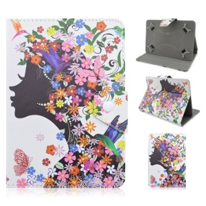 Flip Leather Stand Cover for iPad mini 4 / Samsung Galaxy Tab S2 8.0 - Lady with Flowers Decor