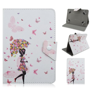 Leather Stand Cover for Samsung Tab S2 9.7 / iPad Air 2, Size: 265 x 177mm - Flowered Girl and Butterflies