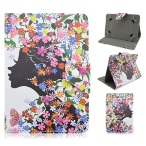 Leather Case Cover for Samsung Tab S2 9.7 / iPad Air 2, Size: 265 x 177mm - Pretty Girl and Colorful Flowers