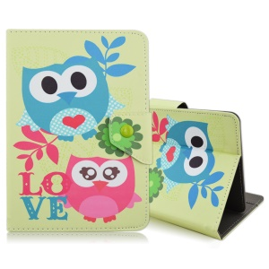 Universal Leather Stand Case for iPad mini 4 / Samsung Galaxy Tab S2 8.0, Size: 220x160mm - Love Owls