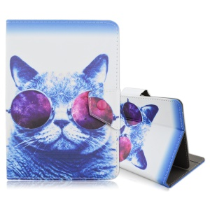 Universal Leather Stand Cover for iPad mini 4 / Samsung Galaxy Tab S2 8.0 - Cat Wearing Glasses