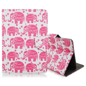 Universal Leather Stand Shell for iPad mini 4 / Samsung Galaxy Tab S2 8.0 - Adorable Elephants