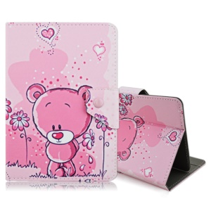 Flip Leather Stand Cover Shell for iPad mini 4 / Samsung Galaxy Tab S2 8.0 - Lovely Bear and Flowers
