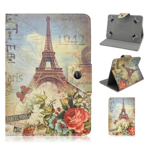 Universal Leather Case for Samsung Tab E 9.6 / iPad Air 2, Size: 265 x 177mm - Eiffel Tower and Flowers