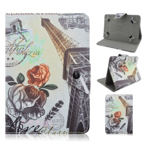 Universal Leather Cover for Samsung Galaxy Tab 3 7.0 / Amazon Kindle Fire Etc, Size: 195 x 125mm - Tall Eiffel Tower and Rose