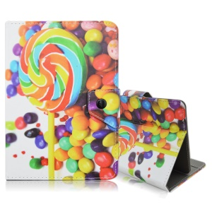 Flip Stand Protective Leather Case for Samsung Galaxy Tab 3 7.0 / Amazon Kindle Fire - Colorful Lollipop