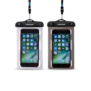 LEEHUR 2Pcs/Set Couple 30M Underwater Waterproof Bags for iPhone 7 Plus etc, Size: 195 x 106mm - Black + Grey