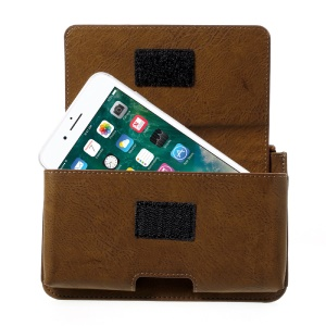 Universal Leather Waist Pouch Bag with Zipper Pocket for iPhone 7 Plus, Size: 159 x 80 x 12mm - Brown