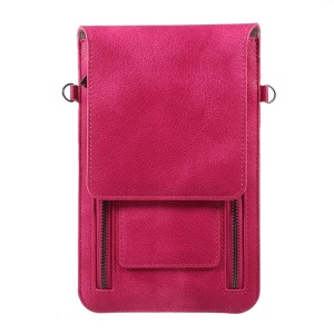 Dual Zipper Pocket Shoulder Leather Pouch for iPhone 7 Plus/Samsung Galaxy Note 8, Size: 180 x 115mm - Rose