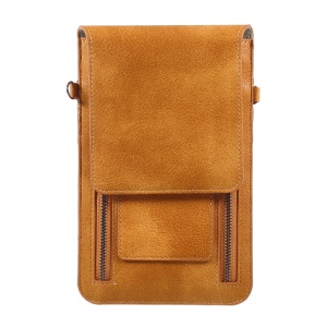 Dual Zipper Pocket Leather Pouch Sleeve for iPhone 8 Plus/7 Plus/Samsung Galaxy Note 8, Size: 180 x 115mm - Brown