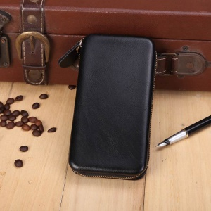 Shell Style Universal Leather Wallet Pouch for iPhone 8 7 6s 6 4.7 Etc, Size: 142 x 70 x 15mm - Black
