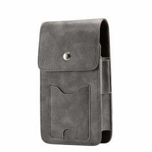 5.8 Inch Vertical Card Holder Two Layers Holster Pouch Cover with Belt Hole for iPhone X / Samsung A7 (2017) - Grey
