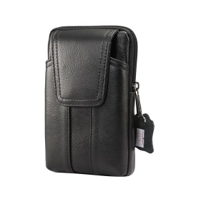 Universal Genuine Leather Vertical Holster Pouch Bag for Samsung S8/S8 Plus, Size: 16.5x10.7x2.0cm - Black