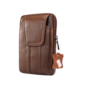 Universal Genuine Leather Zipper Vertical Pouch Case for Samsung S8/S8 Plus, Size: 16.5x10.7x2.0cm - Brown