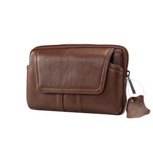 Universal Genuine Leather Wasit Pouch Bag for iPhone 8 Plus/7 Plus, Size: 16x10x2.0cm - Brown