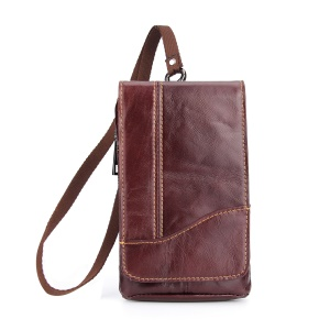 Crazy Horse Texture Top Layer Cowhide Leather Belt Pouch Vertical Waist Bag for iPhone X/Samsung Galaxy S8 etc.