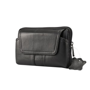 Universal Genuine Leather Wasit Pouch Bag for iPhone Samsung Huawei etc. (Size: 15.5x9.5x2.0cm) - Black