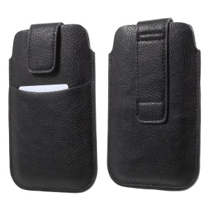 100Pcs/Set Litchi Texture Leather Card Holder Pouch with Belt Loop for iPhone 8/Samsung Galaxy S7 etc.