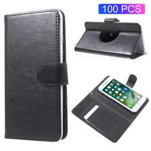 100Pcs/Lot A5 Crazy Horse Texture Card Holder Leather Stand Universal Case for iPhone SE/5s etc - Black