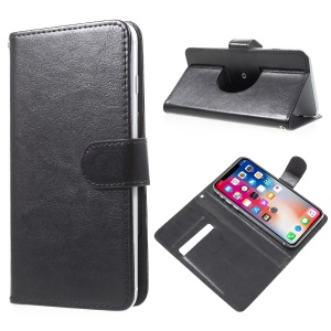 100Pcs/Lot A3 Universal Leather Stand Card Slots Case for iPhone 8 / Samsung S7 etc - Black