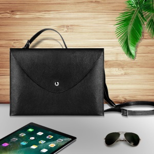 10.5-inch Universal Large Capacity Leather Case Bag with Hand-strap for Phone Tablets - Black