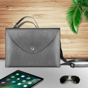 10.5-inch Universal Large Capacity Leather Cover Bag with Hand-strap for Phone Tablets - Grey