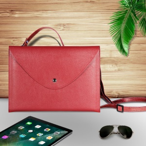 10.5-inch Universal Large Capacity Leather Shell Bag with Hand-strap for Phone Tablets - Red