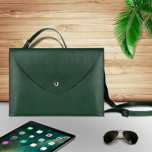 10.5-inch Universal Large Capacity Leather Protective Case Bag with Hand-strap for Phone Tablets - Green