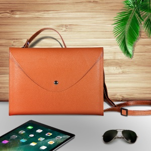 10.5-inch Universal Large Capacity Leather Protective Cover Bag with Hand-strap for Phone Tablets - Orange