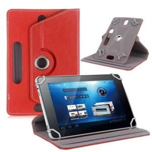 Universal 360-degree Rotary Stand Leather Shell for Huawei MediaPad M3 8.4/Galaxy Tab 8.9, Size: 24 x 16 x 1.2cm - Red