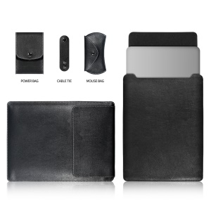 13-inch Universal Large Capacity Leather Case Bag for Phone Tablets - Black