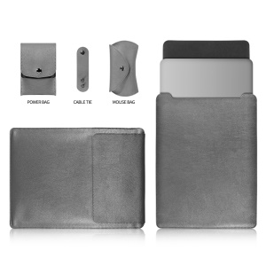 13-inch Universal Large Capacity Leather Case Cover Bag for Phone Tablets - Grey