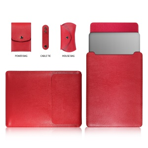 13-inch Universal Large Capacity Leather Cover Bag for Phone Tablets - Red